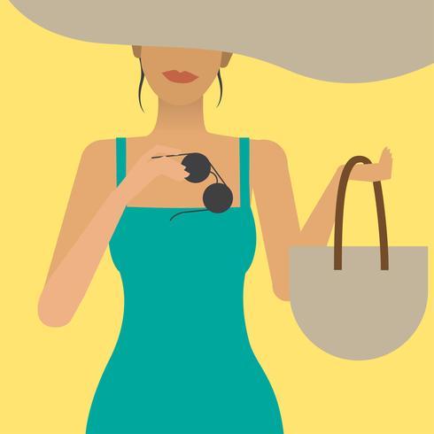 Kvinna på en semester illustration