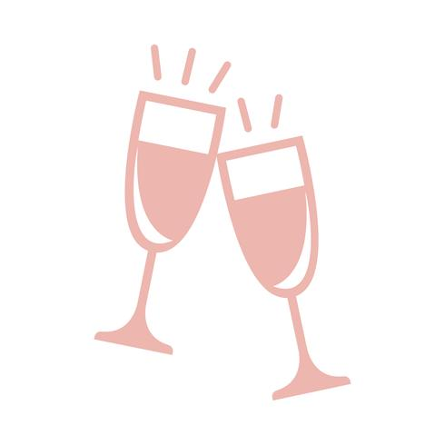 Two champagne glasses graphic illustration