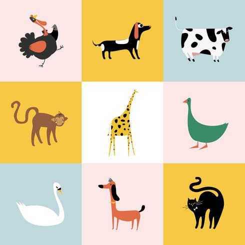 Collage av olika sorters djur