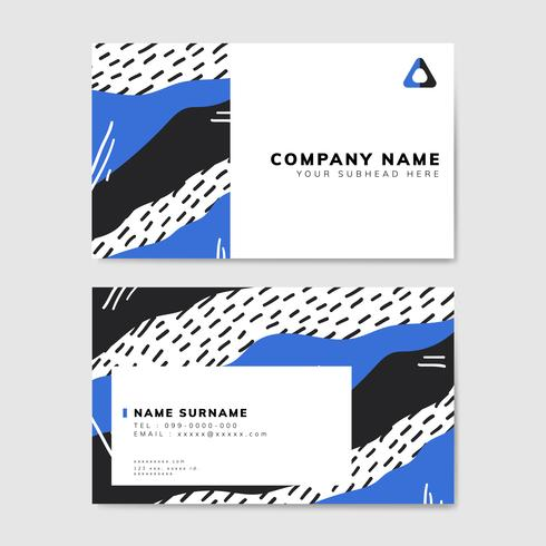 Colorful geometric Memphis style business card