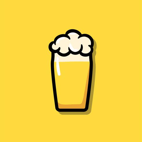 Un vaso de ilustración del icono de la cerveza