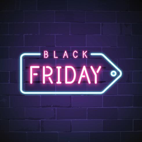 Vector de signo de neón de viernes negro