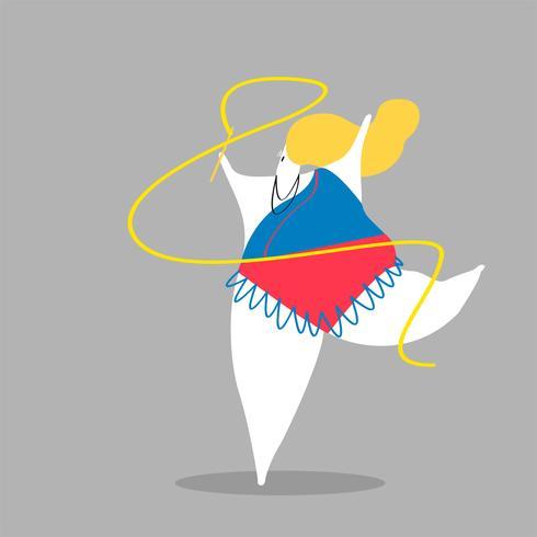 Ilustración de personaje de una mujer gimnasta