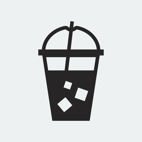 Bebida fría en una ilustración de vaso de plástico
