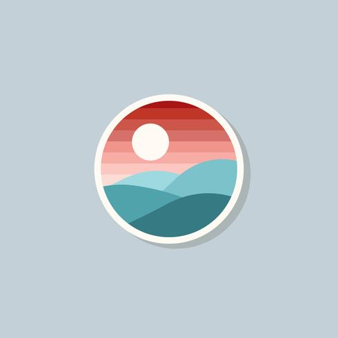 Flat sunset and mountain colorful logo