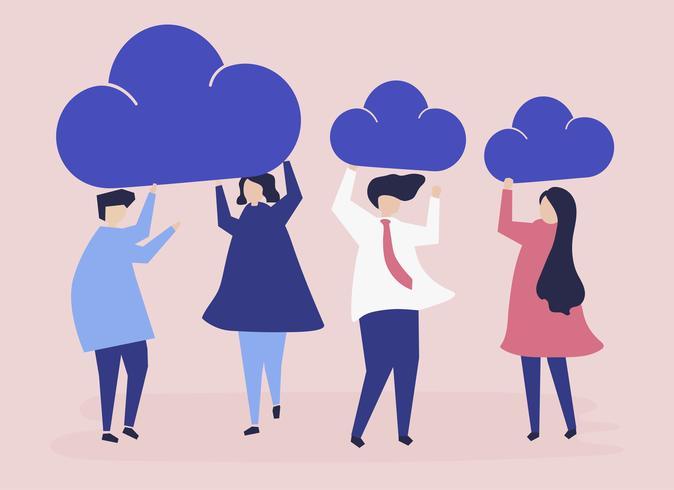Tecken av affärsmän som håller moln ikoner illustration