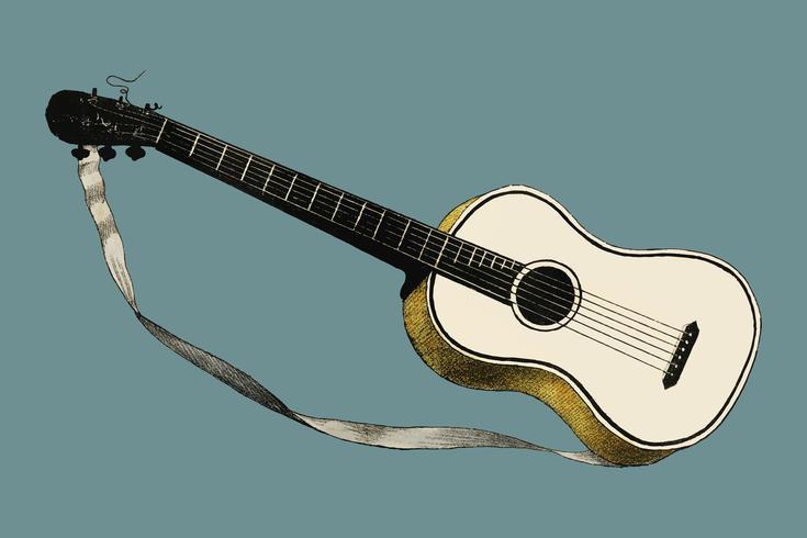 Musik (1850) publicó en Copenhague, una ilustración vintage de violín, guitarra clásica y variantes de flauta. Mejorado digitalmente por rawpixel.