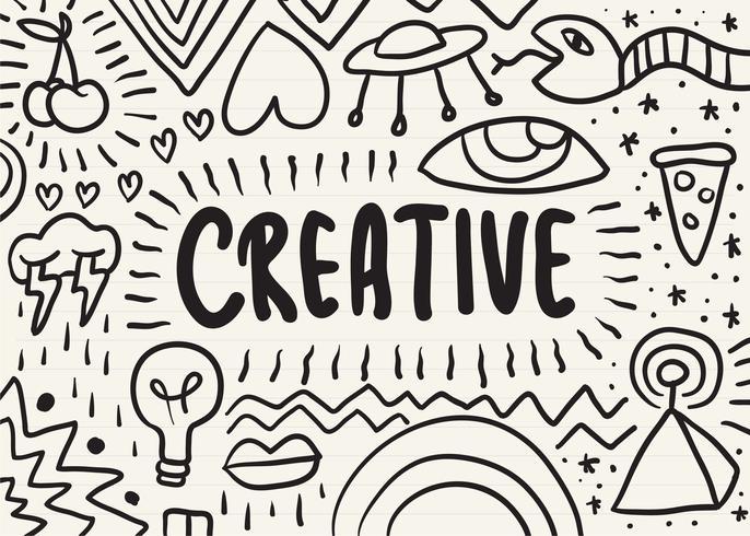 Creative scarabocchiato su un blocco note