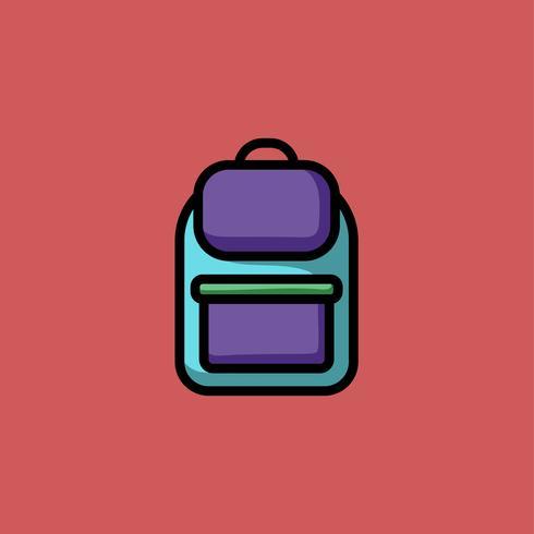 Mochila colorida doodle icono ilustración