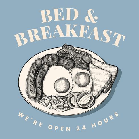Bed and breakfast logo design vector
