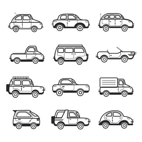 Samling av bilar och lastbilar illustration