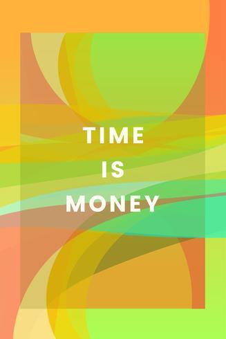 Tempo é dinheiro design gráfico colorido