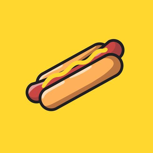 Ilustração de doodle de ícone de cachorro-quente