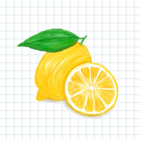 Hand drawn lemon watercolor style