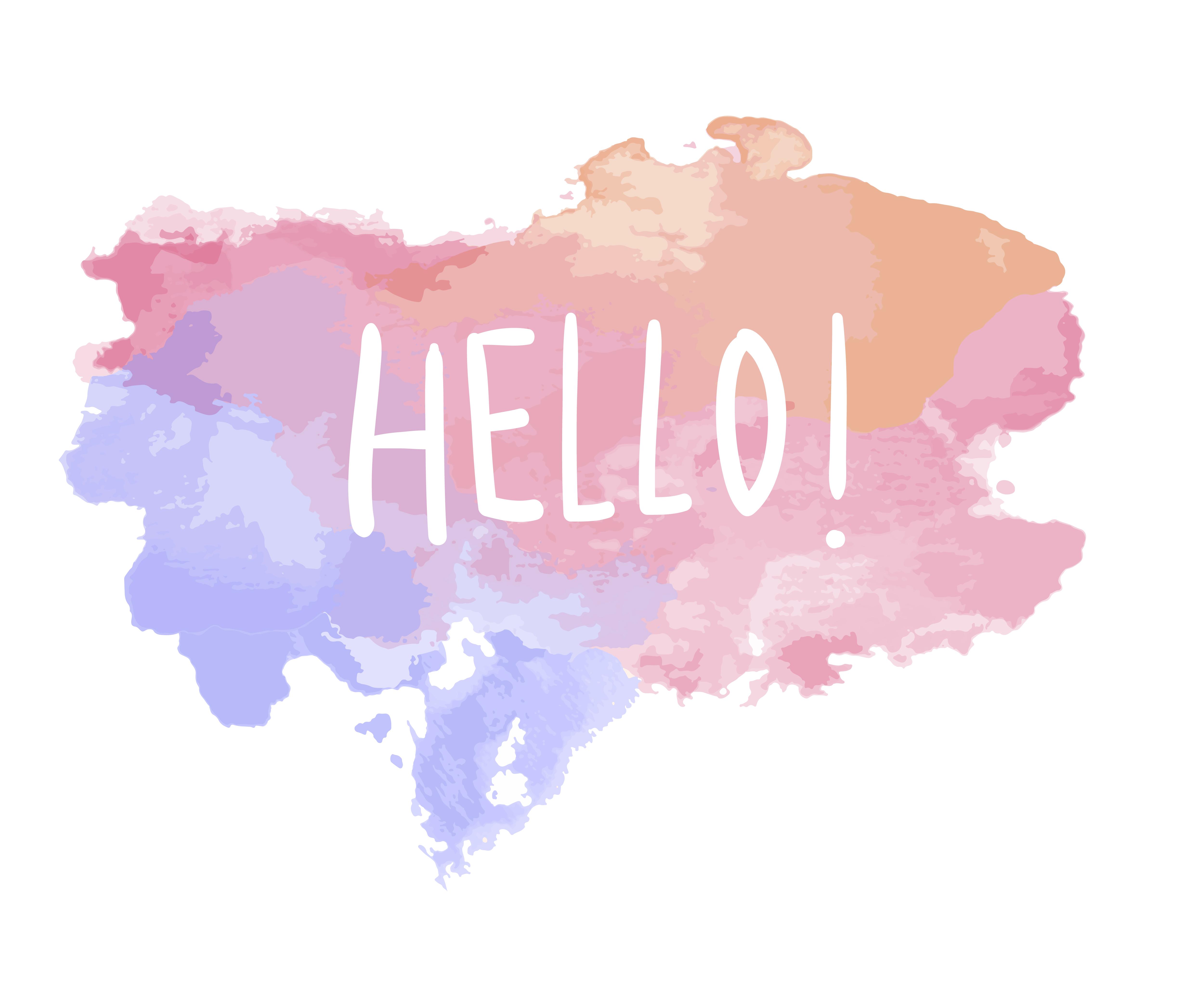 The word hello on a watercolor vector Download Free Vectors Clipart Graphics & Vector Art
