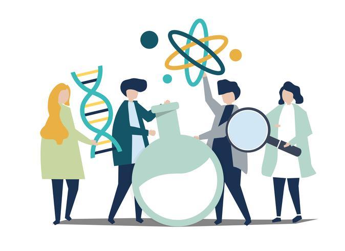 Tecken av forskare som håller kemi ikoner illustration