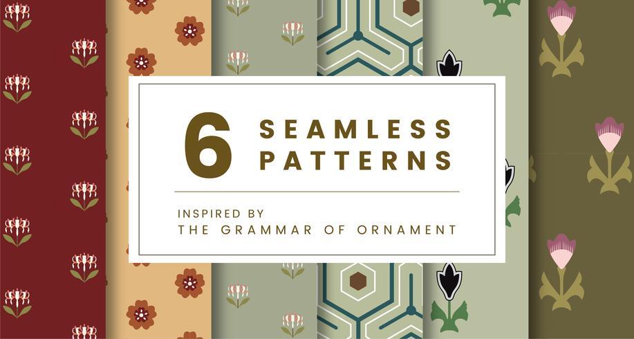 Conjunto de 6 patrones vintage inspirados en la gramática del ornamento.