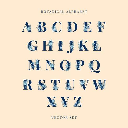 Alfabeto botánico mayúsculas vector conjunto