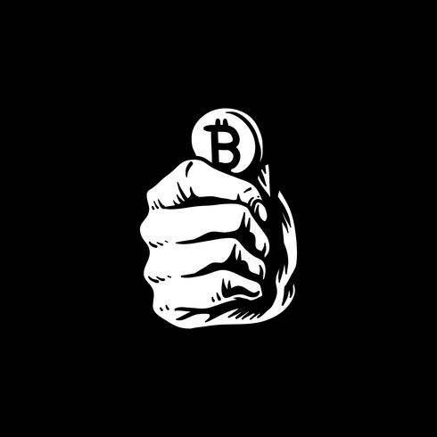 Hand holding bitcoin doodle illustration