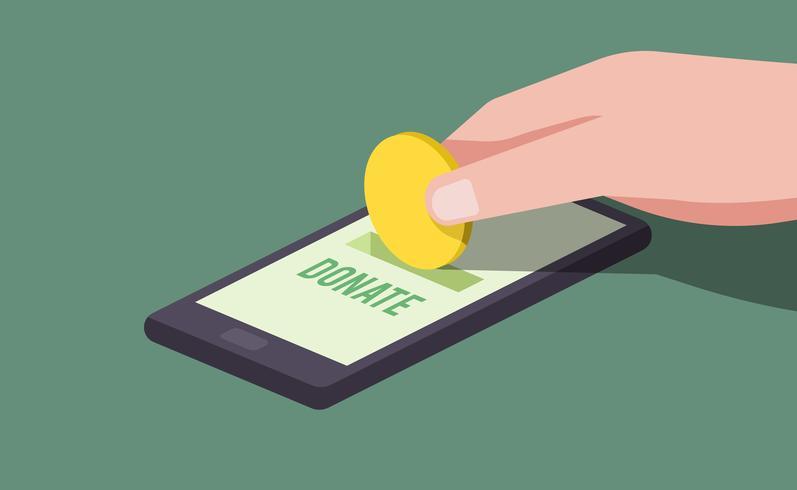 Hand making online donation illustration