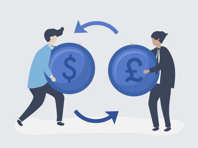 Caratteri di due uomini d'affari che scambiano l'illustrazione di valuta
