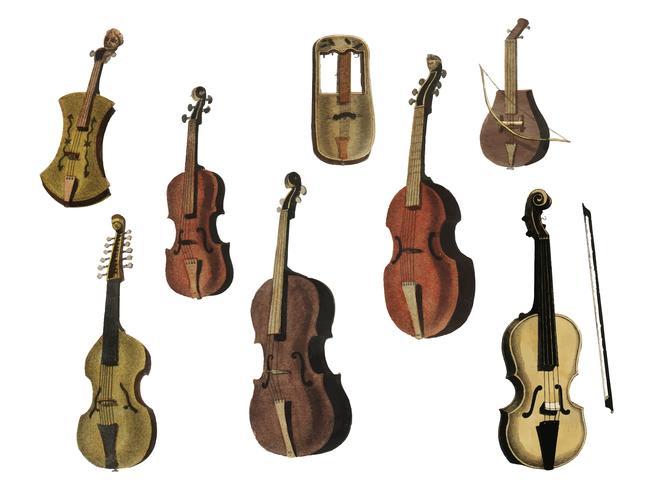 Musik (1850) a publié à Copenhague une illustration vintage d'un violon, de variantes de guitare classique et de flûte. Augmenté numériquement par rawpixel.