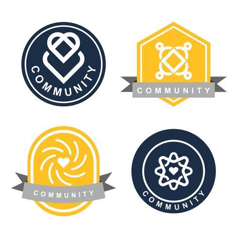 Insieme di esempi di design del logo del marchio della comunità