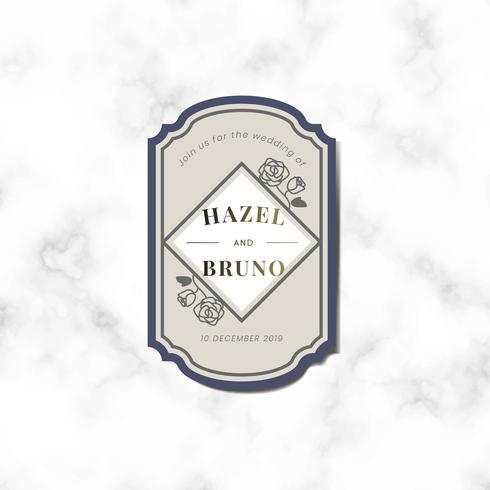Hochzeitseinladung Aufkleber Label Vektor