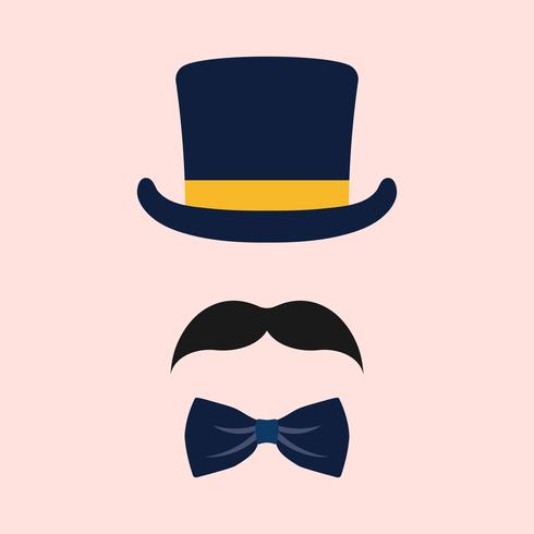 Male wedding photo booth props vector