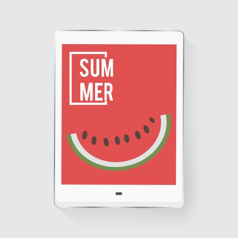 Tablet Screen Showing Watermelon Piece with Summer Word Graphic Vector