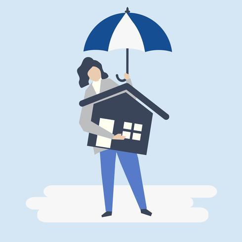 Karaktär av en kvinna och bostadsförsäkring koncept illustration