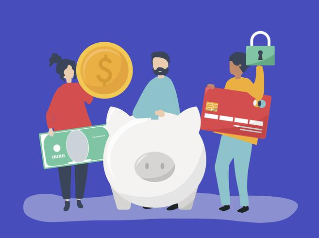 Personnes détenant des icônes d'épargne et de sécurité