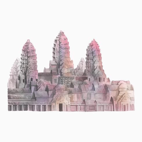 Angkor Wat à Siem Reap aquarelle