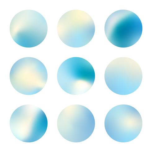 Blue holographic gradient background design set