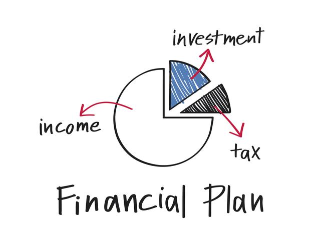 Financial plan pie chart illustration