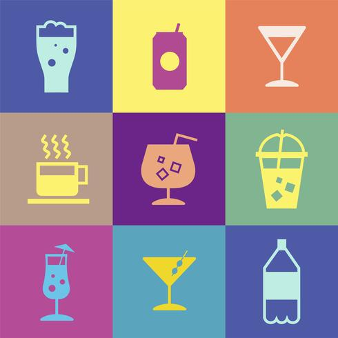 Verfrissende drankjes pictogrammen collectie illustratie
