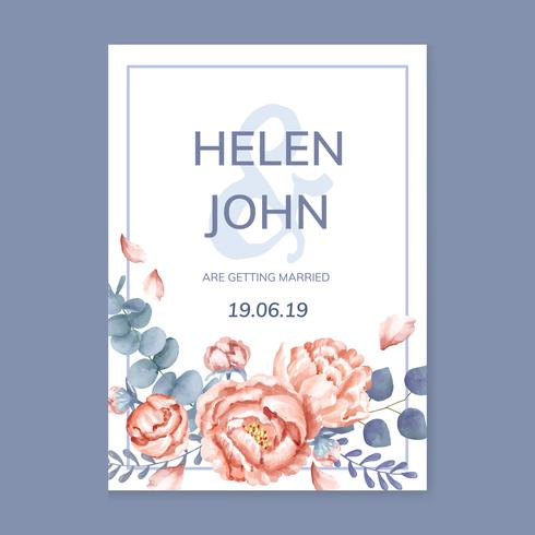Floral greeting card with a purple scheme