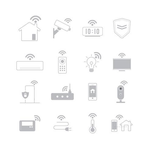 Conjunto de vectores de iconos de tecnología de casa inteligente