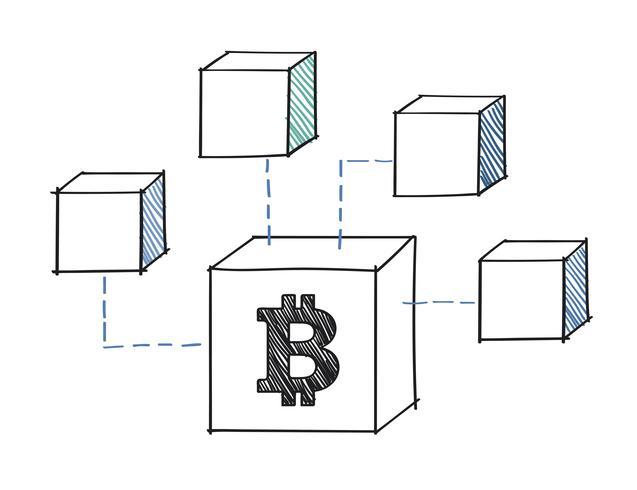 Bitcoin-Block befestigt an der Blockchain-Illustration