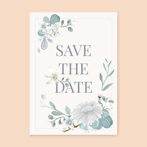 Una tarjeta de invitación de fondo blanco