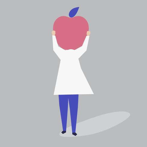 Charakter einer Frau mit einer Apfelkopfillustration