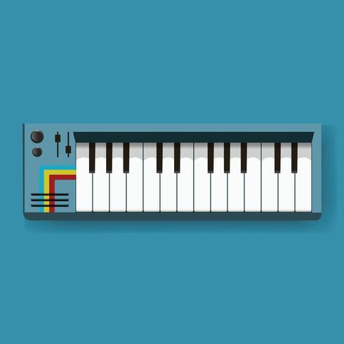 Teclado electrónico digital instrumento musical icono ilustración vectorial