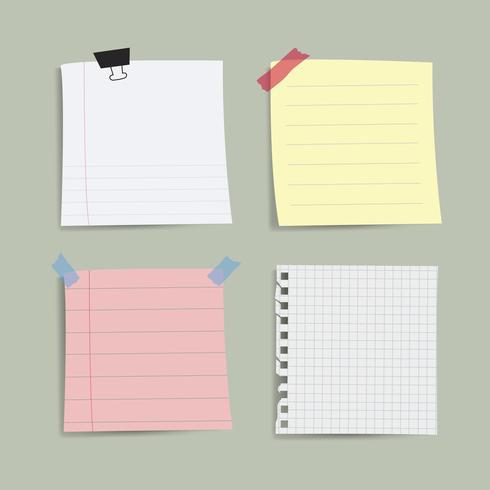 Blank påminnelse noter vektor uppsättning
