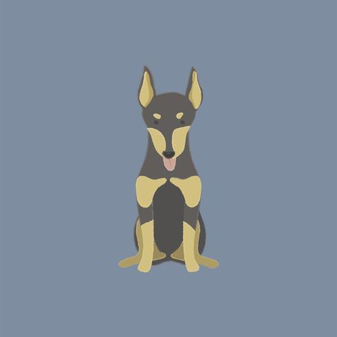 Gullig illustration av en dobermanhund