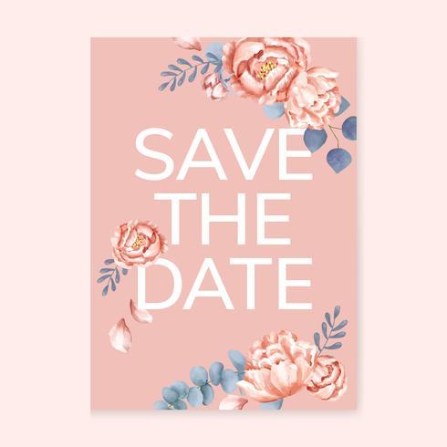 Cartão de casamento floral temático rosa