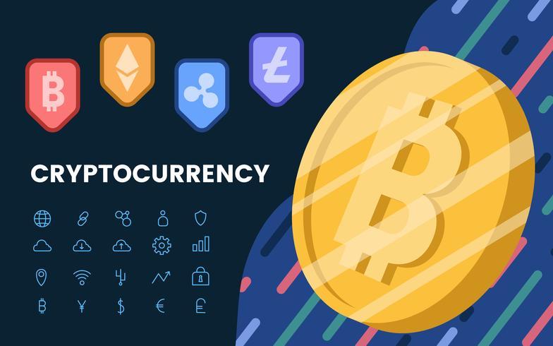 Gruppe des elektronischen Bargeld-Symbolvektors der Kryptowährungen
