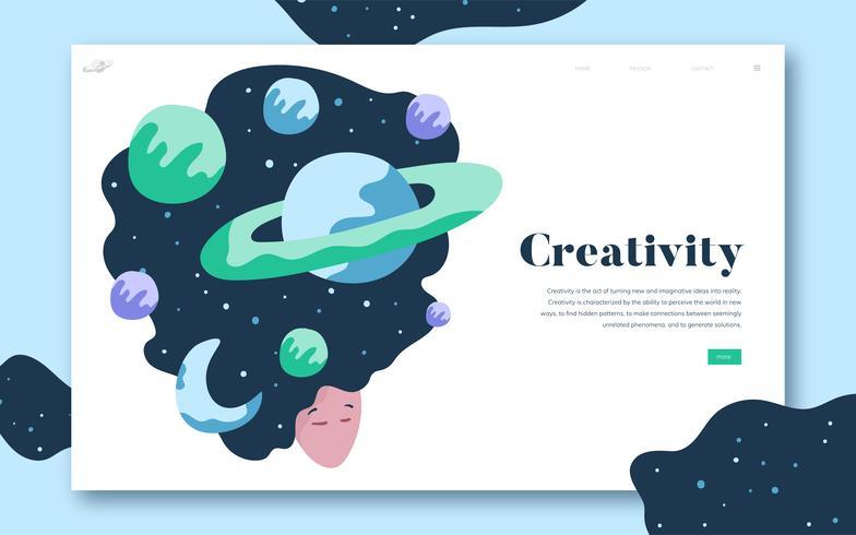 Criatividade e espaço website gráfico