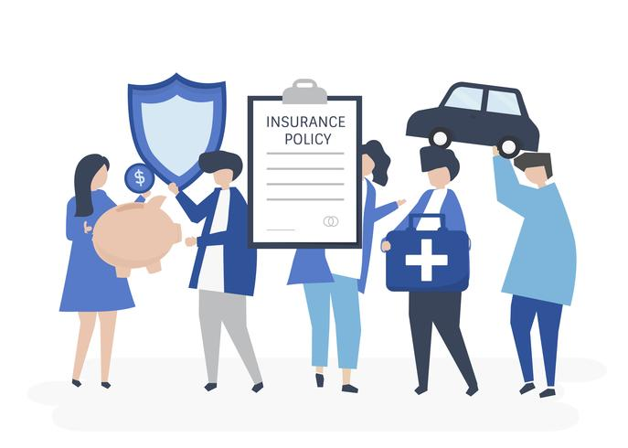 Charaktere von den Leuten, die Versicherungsikonenillustration halten
