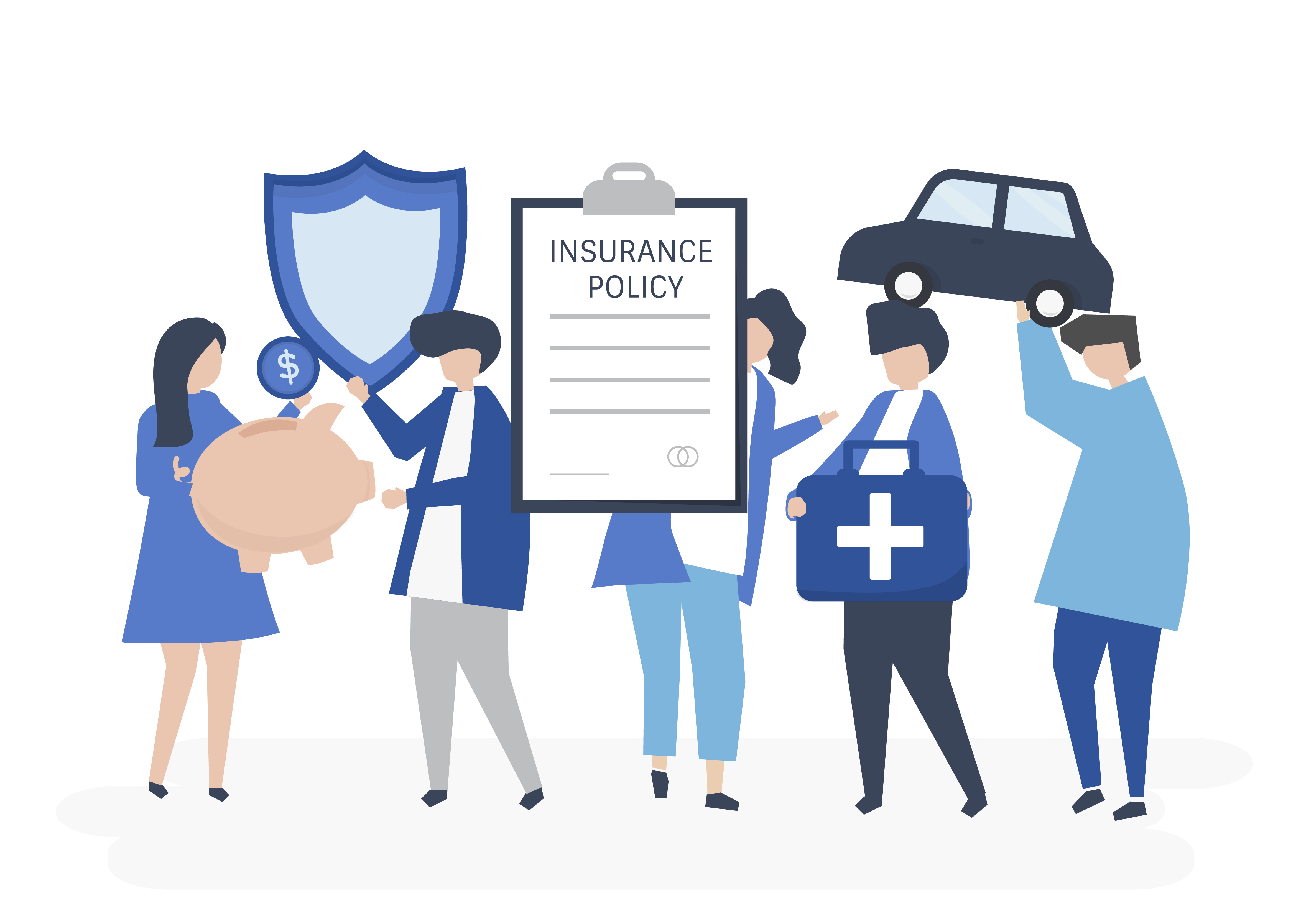 Characters of people holding insurance icons illustration ...