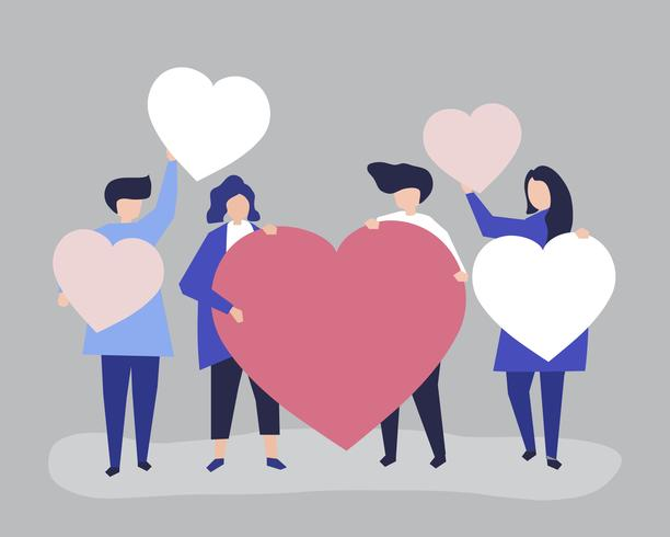 Personajes de personas con corazón en forma de ilustración